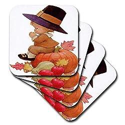 3dRose CST_36427_2 Vintage Pilgrim Boy on Pumpkin Soft Coasters, (Set of 8)