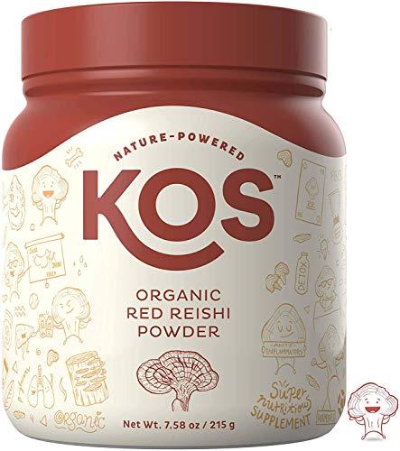 KOS Organic Red Reishi polvo | Pure, Red Reishi (Ganoderma Lucidum) extracto de seta en polvo | USDA orgánico, anti-edad, adaptógeno, ingredientes a base de plantas antiinflamatorias, 215 g, 50 porciones