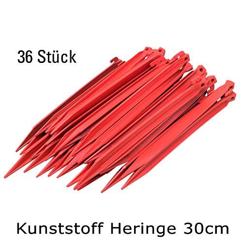 ToCi Kunststoff Heringe 30cm | Zeltheringe für Outdoor Camping Zelte Garten | Zeltnägel in Rot (48 Stück)