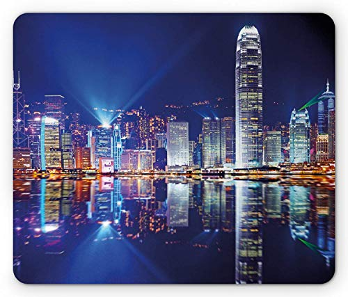 City Mouse Pad Hong Kong Island from Kowloon Vibrant View Water Reflection Modern China Rectangle Non-Slip Rubber Mousepad Standard Size Royal Blue Orange White