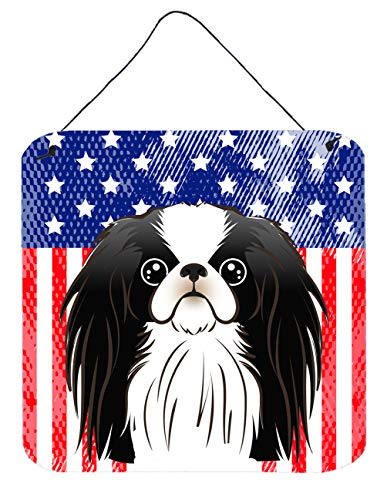 Caroline's Treasures BB2160DS66 American Flag and Japanese Chin Wall or Door Hanging Prints, 6x6, Multicolor