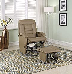 Glider Recliner with Matching Ottoman in Bone