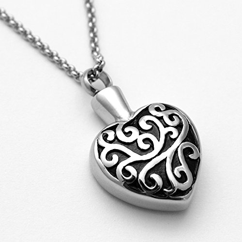Zahara Memorial Urn Necklace (20 Inches) with Velvet Pouch & Fill Kit | Labyrinth Heart Pendant and Chain (Nickel Free)