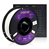 Overture TPU Filament 1.75mm Flexible TPU Roll with 200 x 200 mm Soft 3D Printer Consumables, 1kg Spool (2.2 lbs.), Dimensional Accuracy +/- 0.05 mm, 1 Pack (White)