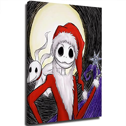 Disfraz de Pap Noel, moderno, minimalista, pintura de pesadilla antes de Christma, decoracin de obras de arte retro para dormitorio, 30,5 x 45,7 cm