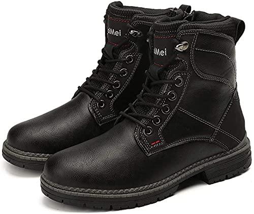 KUXUAN Zapatos de Moto Impermeables para Hombre,Impermeable y Anticolisión - Botas Cortas para Motocicleta y Motocicleta Four Seasons,Black-43EU