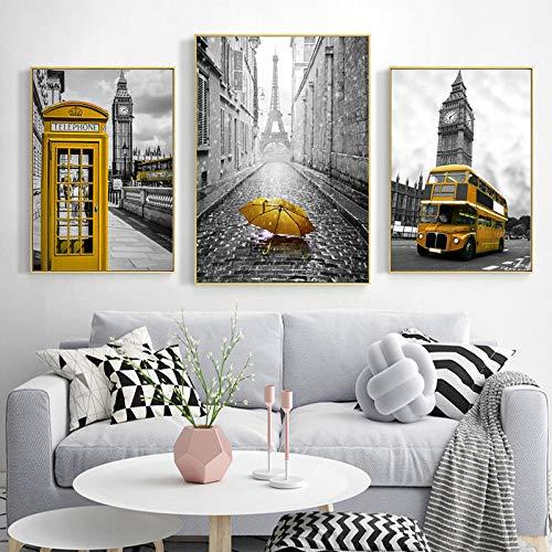 WADPJ gele telefooncel paraplu bus kunst wandposter druk canvas schilderij woonkamer wooncultuur -50x70cmx3 stuks Geen lijst