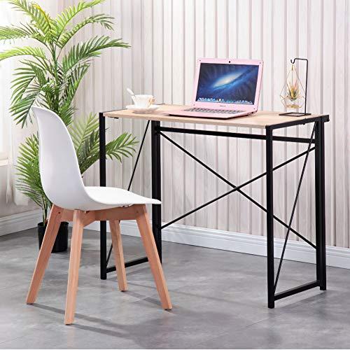 GOLDFAN Schreibtisch Klein Holz Bürotisch Schreibtisch Klappbar Computertisch Arbeitstisch Officetisch PC-Tisch Home Office mit Schwarze Beine 90cm