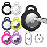 ZoneFoker Designed for Airtag Case, Clear 2-in-1 Full Body Coverage Anti-Scratch Protective Shockproof Rugged Air Tag Holder Airtag Accessories with Keychain Key Ring for Cat Collar Bag-6PCS