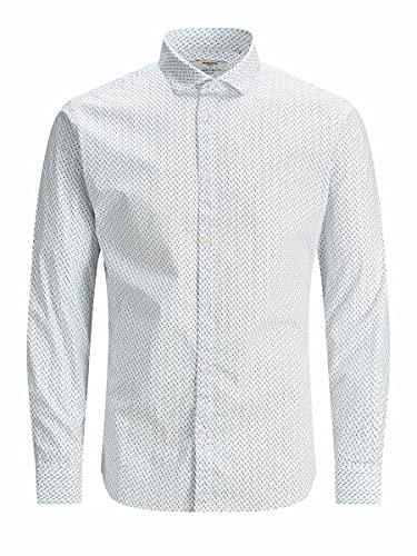 JACK & JONES JPRBLABLACKPOOL Stretch Shirt L/S STS Camicia Elegante, White/Fit: Slim Fit, M Uomo