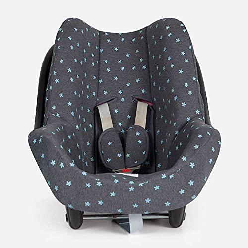 BAOBABS BCN - Funda Silla de Coche para Bebé | Grupo 0 | Universal | Con Refuerzo 3D y Transpirable | Color Carbon Mint Stars