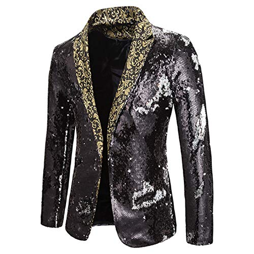 Mr.BaoLong&Miss.GO Autumn and Winter New Men Performance Suits Two-Color Sequins European and American Men Suits Stage Costumes Nightclub Bar Dj Suits Black