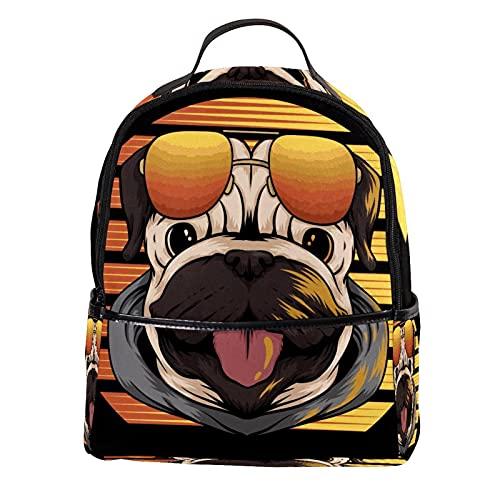 AITAI Mochila de piel sintética creativa divertida perro de perro con gafas de sol al aire libre escuela universidad Bookbag fit mochila