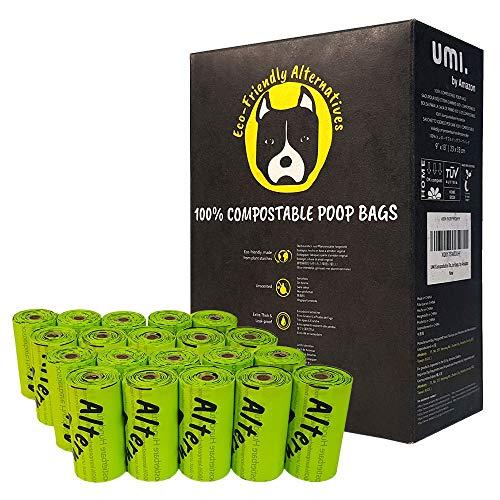 UMI. by Amazon Sacchetti Igienici Biodegradabili per Escrementi Cane - Origine Vegetale, Compostabili a Casa, Privi di Microplastica, Inodori e Anti Perdita - 23 x 33 cm, 120 con Portasacchetti