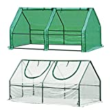 Quictent 2 Covers Waterproof UV Protected Reinforced Mini Cloche Greenhouse 71' WX 36' D X 36' Portable Green Hot House- 50 Pcs T-Type Plant Tags Include