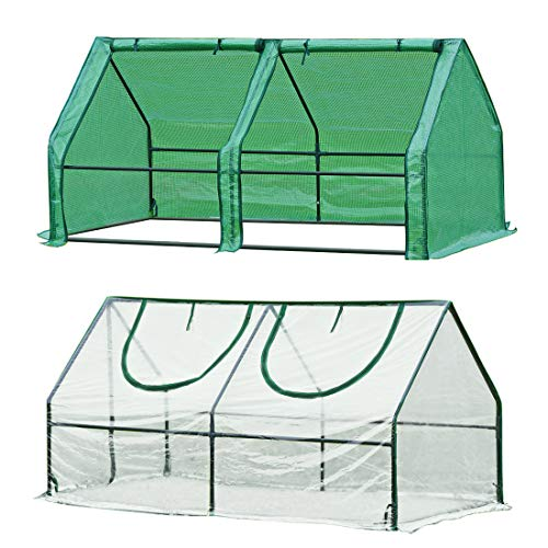 Quictent 2 Covers Waterproof UV Protected Reinforced Mini Cloche Greenhouse 71' WX 36' D X 36'...