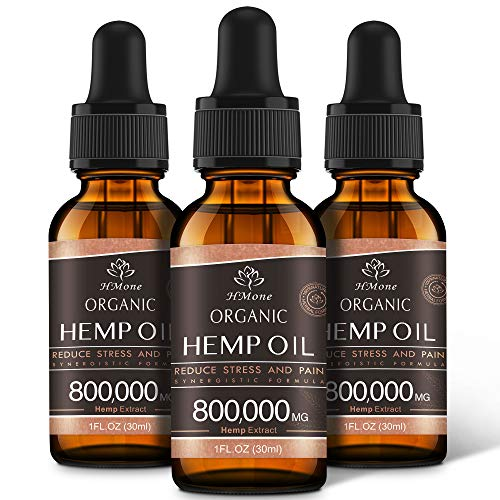 (3 Pack) Organic Hemp Oil Extract - 800,000MG Extra Strength - Organically Grown in USA - Natural Dietary Supplement - Non-GMO, Vegan