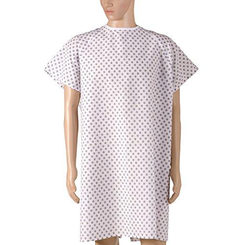 DMI Patienten Unisex Krankenhaus Kleider mit Back Krawatte, Print, 12Stück