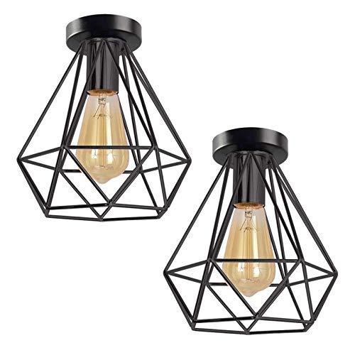 2 lámparas de techo retro de alambre E27, portalámparas de metal, lámpara de techo, lámpara semibrillante, color negro, 20 cm x 22 cm (bombilla no incluida)