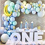Baby Blue Balloon Garland Kit  Baby Boy Balloon Arch Kit Blue Mint Green Balloons  Gold Moon and Stars Baby Shower Balloons Boy  Twinkle Twinkle Little Star Baby Shower Decorations Birthday Party