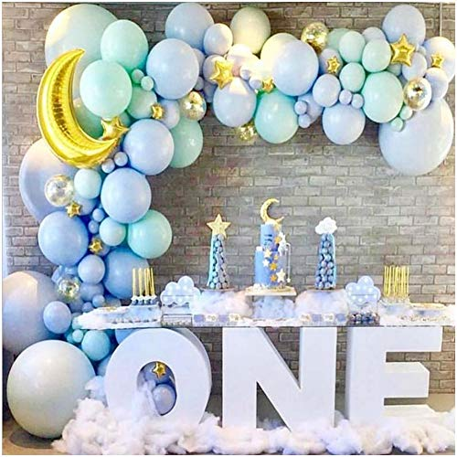 Baby Blue Balloon Garland Kit – Baby Boy Balloon Arch Kit Blue Mint Green Balloons – Gold Moon and Stars Baby Shower Balloons Boy – Twinkle Twinkle Little Star Baby Shower Decorations Birthday Party
