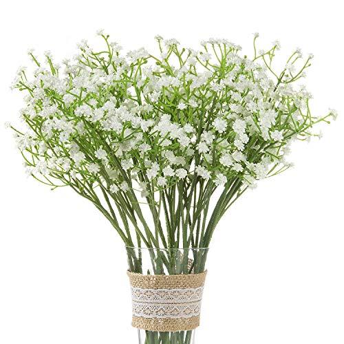 Comius Sharp 12 Stück Kunstblumen Gypsophila, Künstliche Schleierkraut-Blumenstrauß Dekorative für Hochzeiten, Zuhause Basteln Zuhause, Party, Valentinstagsgeschenk (Weiß)