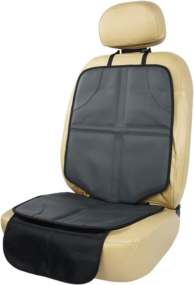 Viaviat Leather Car Seat Protector for Booster Durable Waterproof Protector Mat Large Auto Seat Cover with Storage Pocket for Child Toddler Safety Seat Baby Basket (Black)
