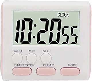 F.G. MINGSHA 24 Hours Magnetic Kitchen Timers with Digital Alarm Clock Timer, Big Screen Loud Alarm & Strong Magnet, Count-Up & Count Down for Kitchen Baking Sports Games Office Study (Pink)