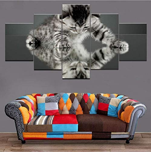 Suwhao Hd bedrukt modern canvas muurkunst schilderij 5 delen/los leuke kleine kat melk wooncultuur woonkamer modulaire afbeeldingen