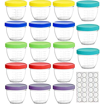 Youngever 18 Pack Baby Food Storage, 4 oz Baby Food Containers with Lids, 6 Assorted Colors, with Lids Labels