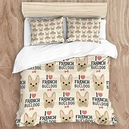 Knncch Duvet Cover Set,Bone Love French Bulldog Pug Animals Wildlife Breed Pet Canine Companion Continuity Dog,Decorative 3 Piece Bedding Set with 2 Pillow Shams