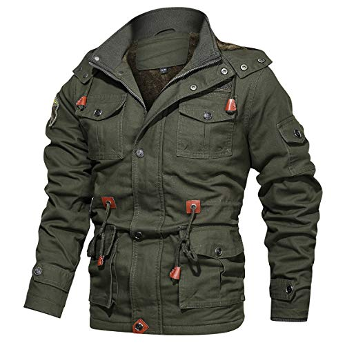CARWORNIC Men's Winter Warm Military Jacket Thicken Windbreaker Cotton Cargo Parka Coat with Removable Hood Army Green