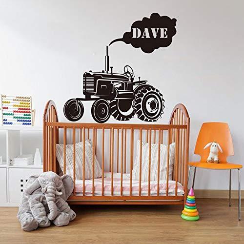 hetingyue gepersonaliseerde naamstickers voor jongens, slaapkamer, personaliseerbaar, tractor, boerderij, vrachtwagen, boerderij, vinylsticker, kamerdecoratie