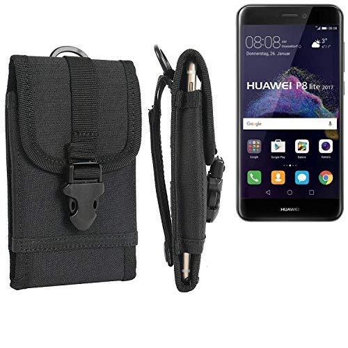 K-S-Trade Bolsa del Cinturón Funda para Huawei P8 Lite 2017 Dual SIM, Negro | Caja del Teléfono Cubierta Protectora Bolso