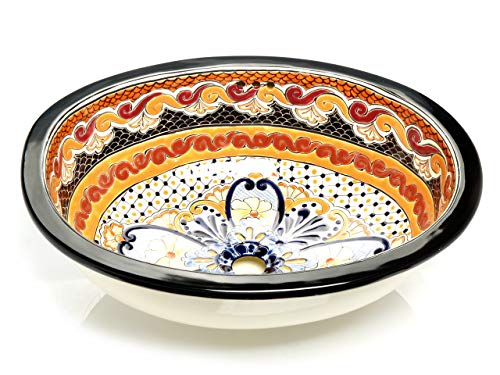 Ynes – Kleines orange buntes Waschbecken, Mexikanische Oval Einbauwaschbecken | Klein Keramik Talavera Waschbecken aus Mexiko | Ideal fur Badezimmer, wc, Gästebadezimmer