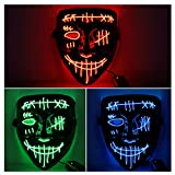 Halloween Scary Mask LED Mask LED Purge Mask [3PACK] LED Light Up Mask EL Wire Light Up for Festival Cosplay Halloween Costume Halloween Festival Party,Style B.
