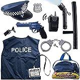 Born Toys Disfraz De Policía De 12 Piezas para Niños con Kit De Juego De rol De Juguete con Placa De Policía, Esposas, Linterna para Niños para Disfraz De Policía, Ideal