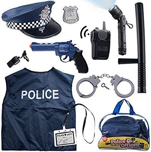 Born Toys 12-teiliges Polizeikostüm für Kinder mit Rollenspiel-Set mit Polizeimarke, Handschellen, Kinder-Taschenlampe, toll als Halloween-Kostüm, FBI, Detective, SWAT, Kostüm für Kinder