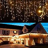 EINFEBEN LED Eisregen 400LEDs 10m LED Lichterkette Außen&innen LED Lichterkettenvorhang mit 8 Modi, IP44 Wasserdicht Deko für Weihnachten, Partydekoration, Innenbeleuchtung, Warmweiß