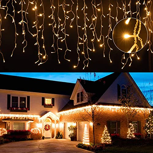 EINFEBEN LED Eisregen 5x5m LED Lichterkette Außen LED Lichterkettenvorhang mit 8 Modi, 200LEDs, IP44 Wasserdicht Deko für Weihnachten, Partydekoration, Innenbeleuchtung, Warmweiß