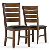 Coaster Side Chair with Leather Look Seat, Set of 2, Dark Oak