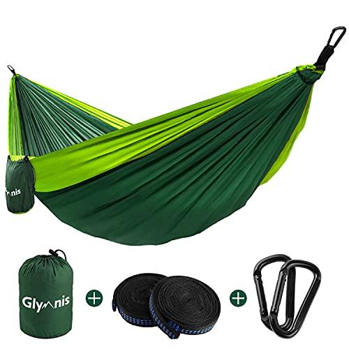 Glymnis Amaca da Giardino Amaca da Campeggio Capacità di Carico 300kg con Kit di Fissaggio Tessuto 210T 300x200 cm per Campeggio Giardino Escursioni Verde Scuro-Verde Chiaro