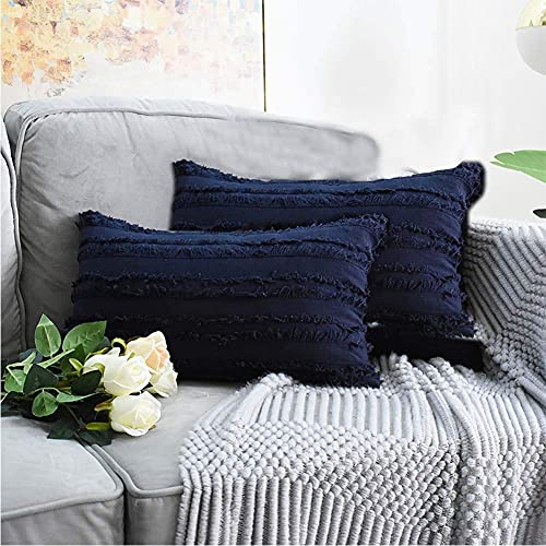 eewopjkj 2 Fundas de cojín Decorativas de algodón y Lino con diseño de borlas Funda para sofá Silla Coche Dormitorio Fundas de Almohada Decorativas Azul Marino 30 x 50 cm (12 x 20 Pulgadas)