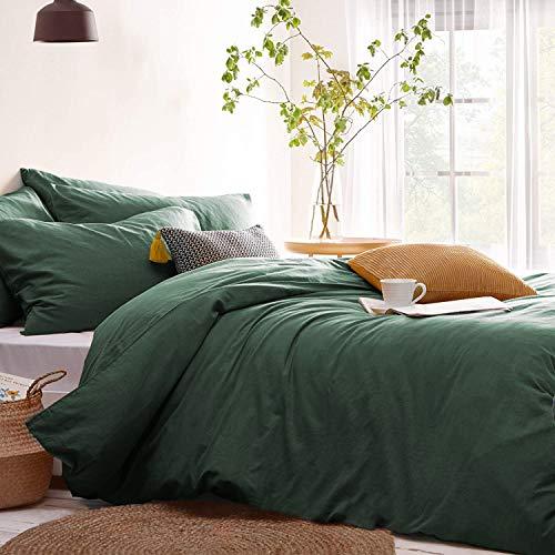 Lanqinglv Bettwäsche 135x200cm 2teilig Dunkelgrün,Grün Uni Bettbezug Deckenbezug 135x200cm mit Reißverschluss und Kissenbezug 80x80cm aus Renforce Microfaser
