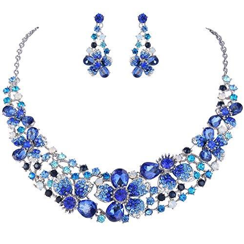 EVER FAITH Set Gioielli Donna, Austriaco Cristallo Elegante Sposa Primavera Fiore Collana Orecchini Set Blu Argento-Fondo