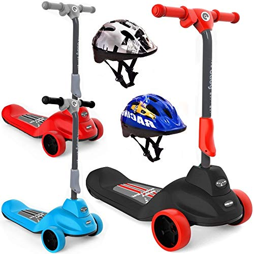 BPD E-Scooter elektrischer Kinderroller Elektroscooter 2-in-1 mit 6V Motor für Kinder 3-6 Jahre faltbar inkl. Schutzhelm