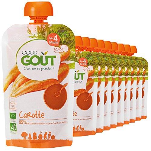 Good Goût - BIO - Gourde de Légumes Carottes dès 4 Mois 120 g - Pack de 10