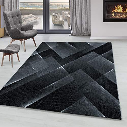 Simpex Tapis à Poil Ras Tapis Design de Salon Motif 3-D Triangle Poil Souple Noir, Couleur:Noir, Taille:200x290 cm