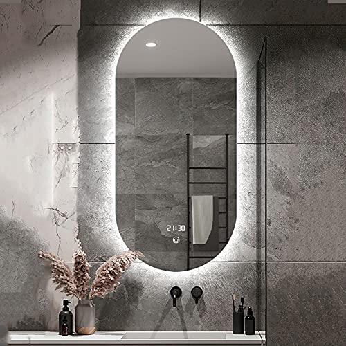 LBSI LED Specchio da Bagno a Parete Illuminato Ovale/Frameless Retroilluminato/Specchio da Barba Specchio/Cosmetico/Antiappanamento/con Interruttore Touch a Tre Colori Dimmerabile