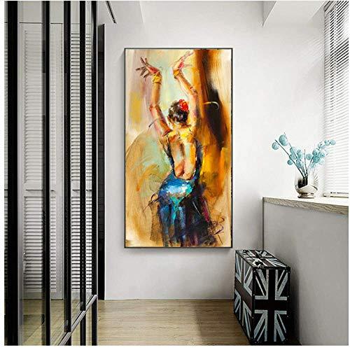 YaShengZhuangShi Pintura al óleo sobre Lienzo Bailarina Abstracta Bailarina Estilo de niña Carteles e Impresiones de Pared Imagen de Arte de Pared para Sala de Estar Cuadros 50x150cm sin Marco